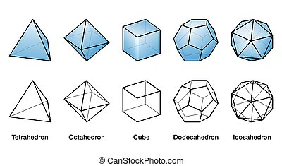 Blue Platonic solids and black wireframe models with same ...