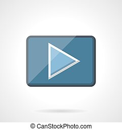 Blue play button flat vector icon