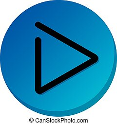 Blue play button sign. Play video icon, illustration