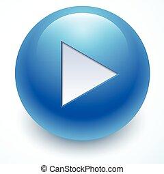 blue play button, vector button