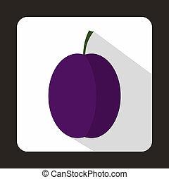 Blue plum icon, flat style