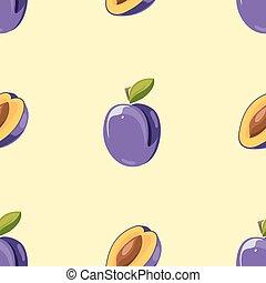 Blue plum vector seamless pattern