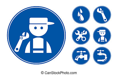 Blue Plumber Icons Set