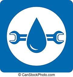 blue plumbing service icon