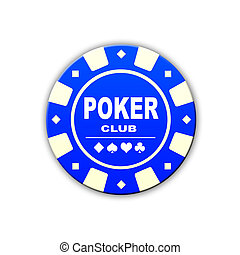 blue pocer club chip isolated