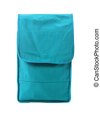 blue pocket bag on white background