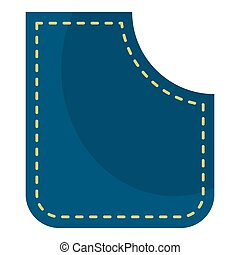 Blue pocket icon isolated