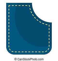 Blue pocket icon isolated