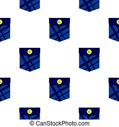 Blue pocket with a button pattern flat
