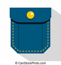 Blue pocket with yellow button icon, flat style