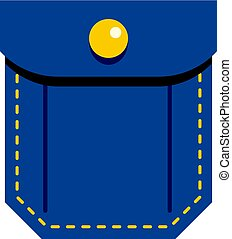 Blue pocket with yellow button icon isolated