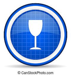 blue pohár, sima, háttér, fehér, ikon