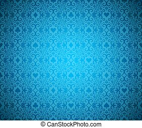 Blue poker background with dark damask pattern and cards symbols