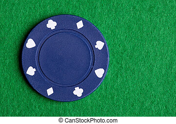 A low value blue poker chip