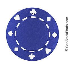 A single blue poker chip isolated on a white background
