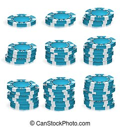 Blue Poker Chips Stacks Vector. 3D Realistic. Round Poker Game Chips Sign Isolated On White. Casino Big Win Concept Illustration.
