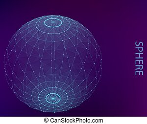 Blue poligonal sphere with points and lines.