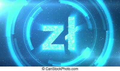 Blue Polish zloty currency symbol centered on a starscape background with HUD elements. Seamlessly loopable animation.