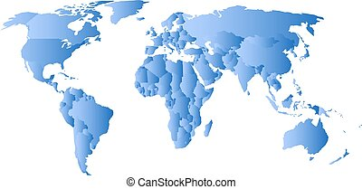 Blue political map of World. Each state with own horizontal...