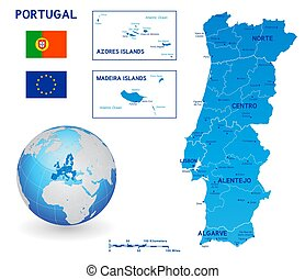 Blue political vector map of Portugal