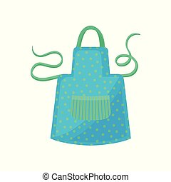 Blue polka dot apron with green strings. Women s cooking dress with big striped pocket. Protective garment. Flat vector icon