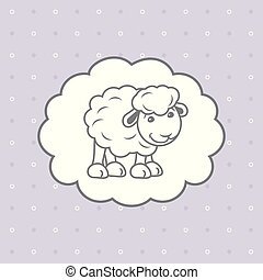 Blue polka dots background with cute baby sheep