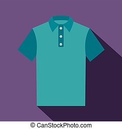 Blue polo shirt icon, flat style