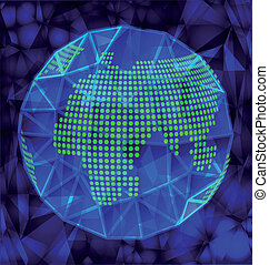 Blue polygonal globe