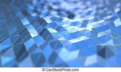 Blue polygonal motion background. Seamless loop