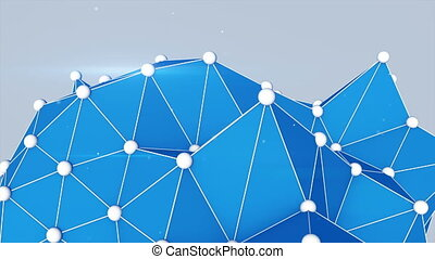 Blue polygonal shape. Abstract 3D render loopable.
