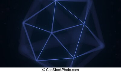 Blue polygonal solid. Loopable 3D graphics - Rotating...