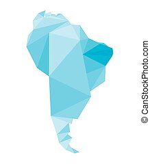 blue polygonal South America map