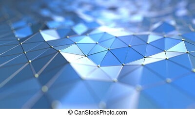 Blue polygonal surface. 3D technology related loopable motion background