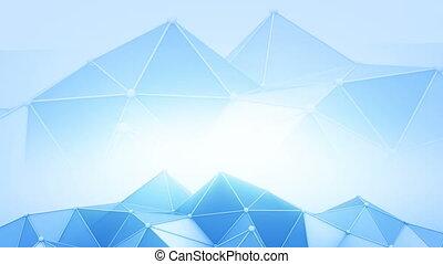 Blue polyonal futuristic contruction 3D render loop