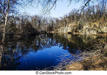 Blue pond in the park