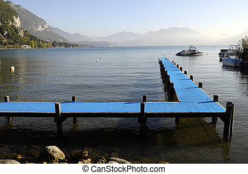 Blue pontoon on Annecy lake, Savoy, France