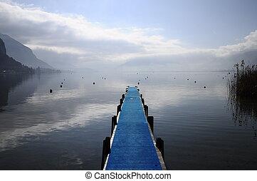 Blue pontoon on annecy lake