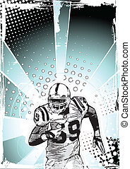 blue poster of american football with running player