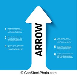 Blue Poster with Arrow pointing up. Business growth..