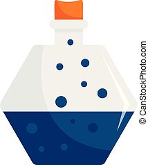Blue potion icon, flat style