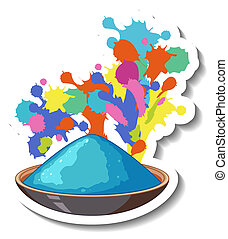 Blue powder colour in a bowl on white background illustration