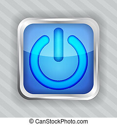 blue power button icon