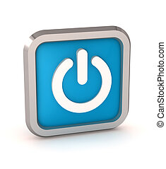 blue power button icon on a white background