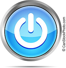 blue power button icon on a white