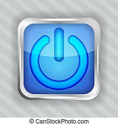 blue power button icon