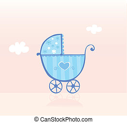 Blue pram or stroller for baby boy