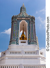 Blue Prangs - famous Prangs in the Grand Palace in Bangkok,...