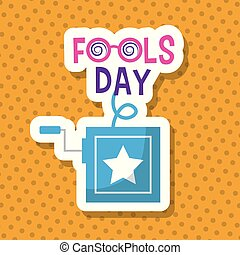 blue prank box fools day celebration dotted background...