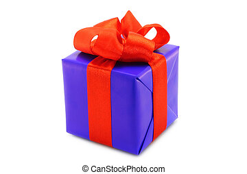 Blue present box with red bow on a white background
