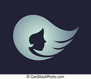 blue pretty girl face icon
